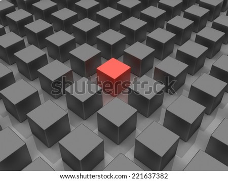 3D image of allegory, representing standing out of the crowd. - stock photo