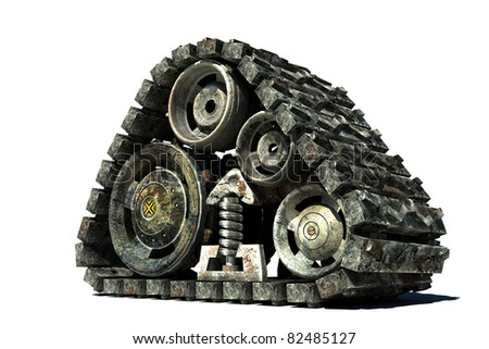 3d image of an isolated tank track; - stock photo