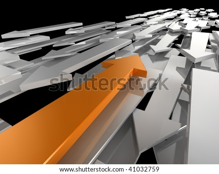 3d image of an orange arrow travelling in a different direction to the competition