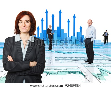 3d image of arrows and worker - stock photo