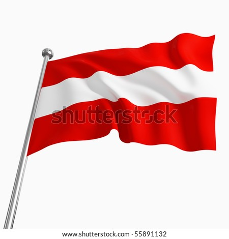 3d image of austrian flag isolated on white background
