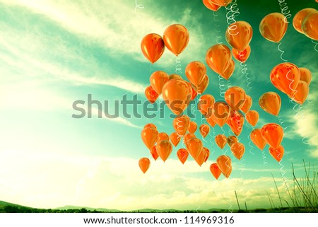 3d image of balloons outdoor background. - stock photo