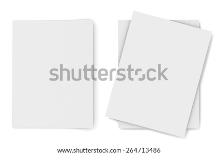 3D image of blank papers on white background.