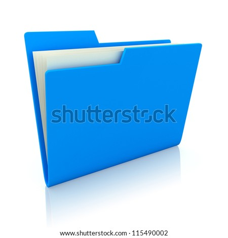 3d image of blue file folder - stock photo