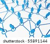 3d image of blue virtual people, connect on white background - stock photo