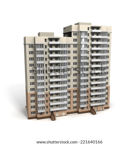 3D image of bulding on white background.