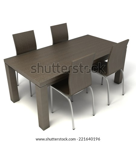3D image of busines table with four chairs on white background. - stock photo