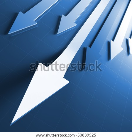 3d image of business financial running arrows - stock photo