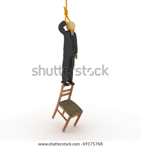 3D image of businessman trying to hand himself. - stock photo