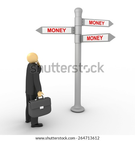 3D image of businessman with money direction on white. - stock photo