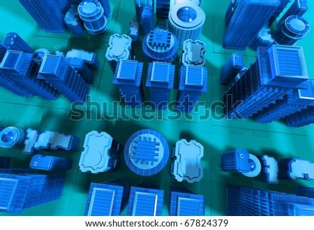 3D image of city - stock photo