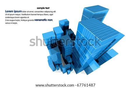 3D image of city landscape - stock photo