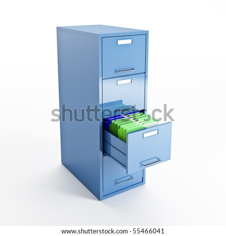 3d image of classic file cabinet on white - stock photo