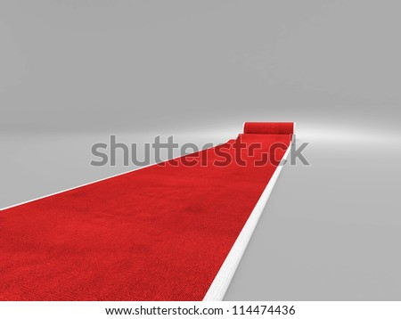 3d image of classic red carpet - stock photo