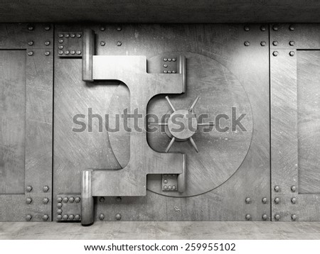 3d image of classic vault door - stock photo