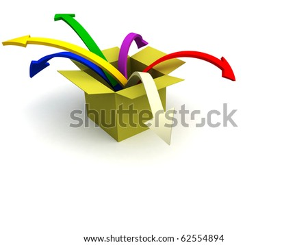 3d image of colorful arrows jumping out of the box - stock photo