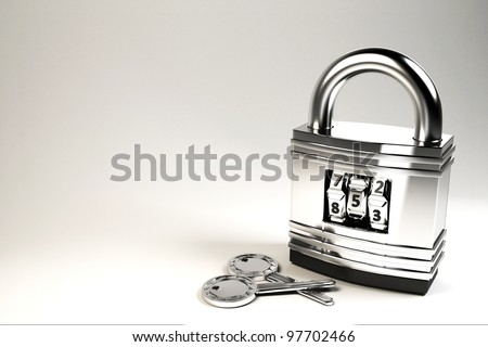 3d image of combination padlock with key - stock photo