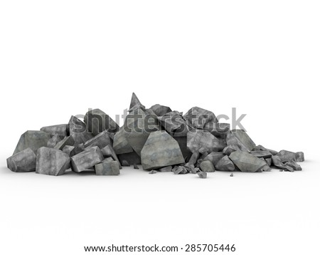 3d image of concrete rubble on white - stock photo