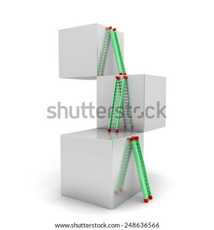 3D image of cubes with ladder representing path to success - stock photo