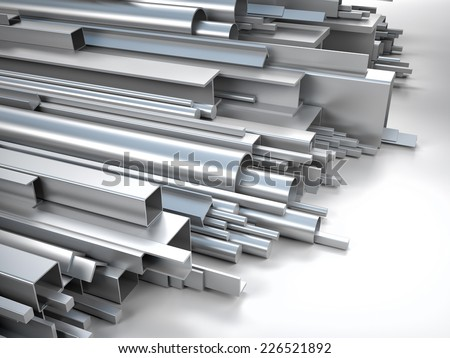 3d image of different metal profile - stock photo