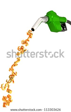3d image of dollar symbol fuel nozzle against white