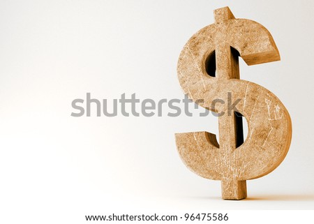 3d image of dollar symbol made of rock against abstract background - stock photo