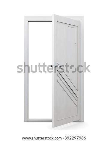 3d image of door on a white background. Open door. - stock photo