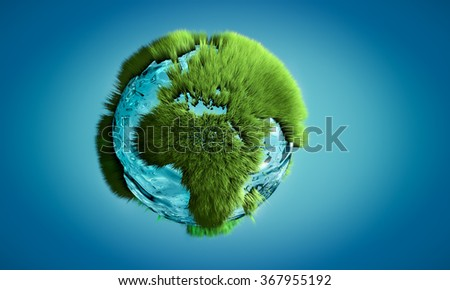 3D image of Earth globe made of water and grass growing on outlines on continents. Concept of nature and environment. - stock photo