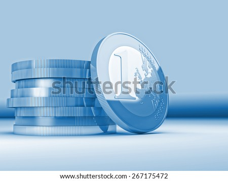 3d image of euro gear coin - stock photo