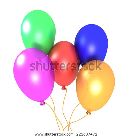 3D image of five balloons on white background. - stock photo