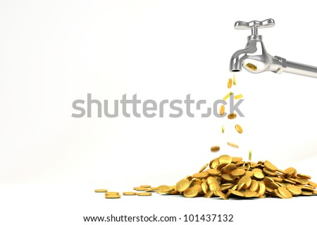 3d image of gold coin coming out of faucet - stock photo