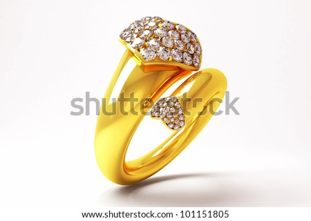 3d image of gold ring with heart shape diamond