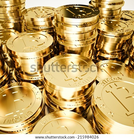 3d image of golden bitcoin on white