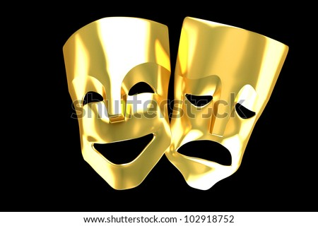 3d image of golden happy and sad entertainment mask