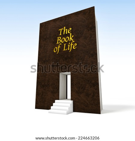3d image of huge book and 3d stair - stock photo