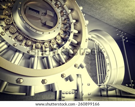 3d image of huge vault door - stock photo