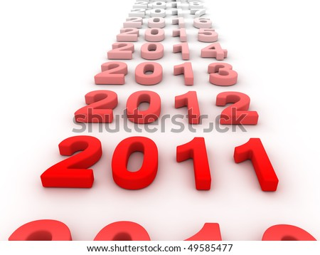 3D Image Of 2011 Isolated Red On Soft White Plane With The Years Passing By Gradiently. - stock photo