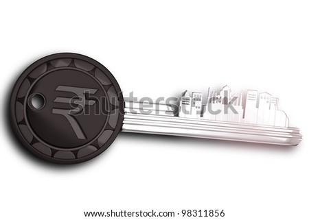 3d image of key ring on India with rupee symbol - stock photo