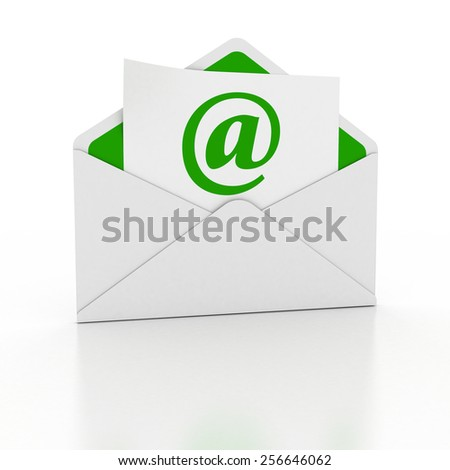 3D image of letter with e-mail sign paper.