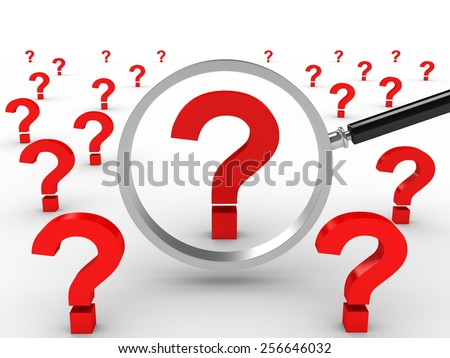 3D image of magnifying lens and question marks on white background.