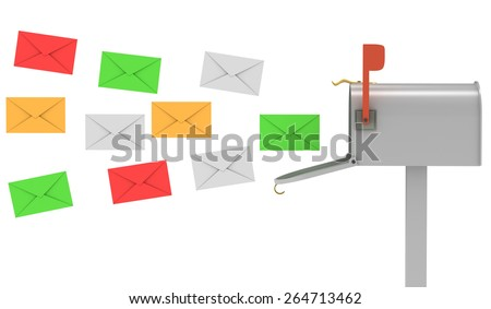 3d image of mailbox and letters on white background.