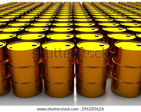 3d image of oil golden barrel background - stock photo
