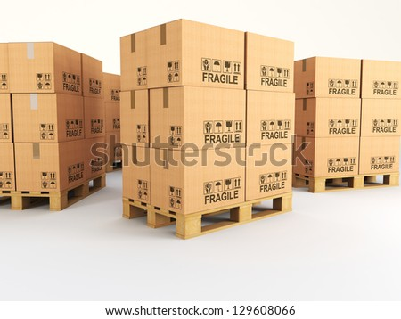 3d image of pallets with classic boxes - stock photo