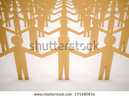 3d image of paper men united - stock photo