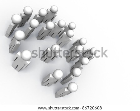 3d image of people symbols, one of them is special