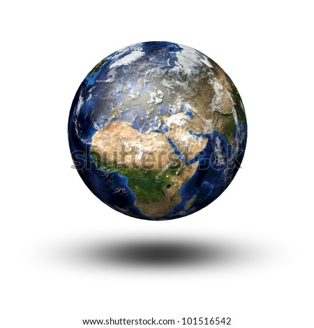 3D image of planet Earth flying above the shadow. View to Europe and Africa Maps of were taken from Nasa website - stock photo