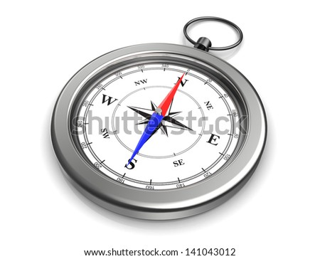 3d image of pocket compass over white