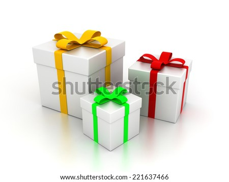 3D image of presents on white backgorund.