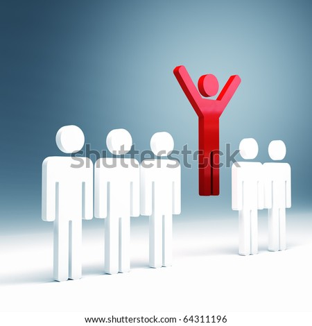 3d image of red man jump and white people