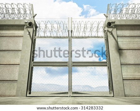 3d image of security border line gate with razor wire - stock photo